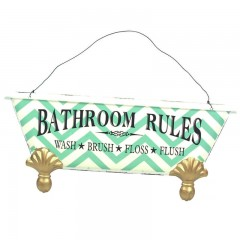 Blechschild Bathroom Rules