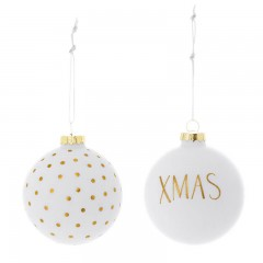 Kugelset XMAS in Weiss Gold