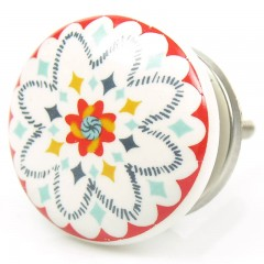 Kommodenknopf Vintage Blume Weiss Rot
