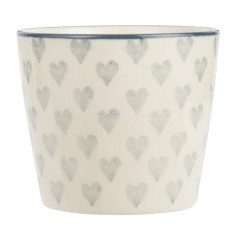 Steingut Becher Grey Hearts