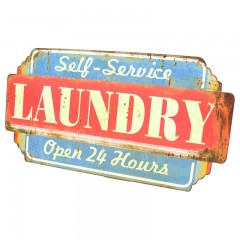 Blechschild Laundry Open 24 Hours